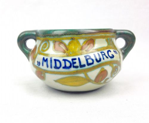 Gouda Pottery Jug Vase 1924 Antique Art Deco - Middelburg Cream - Yellow - Green